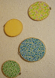 Embroidery hoops with colorful, patterned fabric hung on the wall.