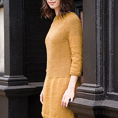 A knit dress in mustard yellow.