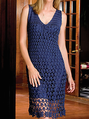 A dark blue, crochet shift dress.