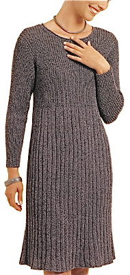 A grey, sweater type of knit dress.