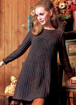 A vintage, knit dress in dark brown.