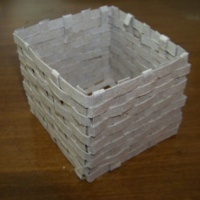 Weaved basket made with cardboard