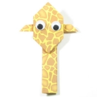 Origami giraffe made from speckled paper
