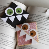 Bookmarks that look like monsters and can slide onto the corner of a page