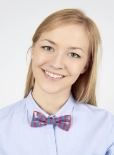 A girl wearing a bow tie made from orange and blue duct tape