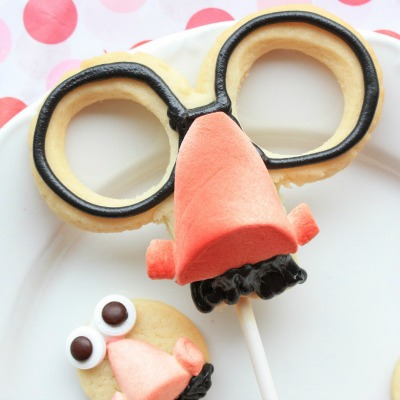 Cookies shaped like glasses, a funny nose, and mustache