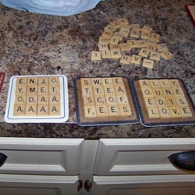 Coasters made from Scrabble tiles