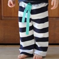 Striped pants on a small boy