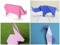 origami pig instructions, origami rabbit instructions