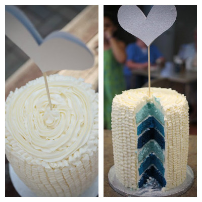 Ombre blue layer cake for gender reveal party