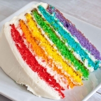 A slice of cake with layers dyed different colors of the rainbow