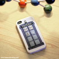 cross stitch tardis phone cover