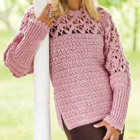 Blushing Rose Pullover Free Crochet Sweater Pattern