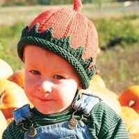 A little boy wearing a hat with an orange top and green brim to look like a pumpkin