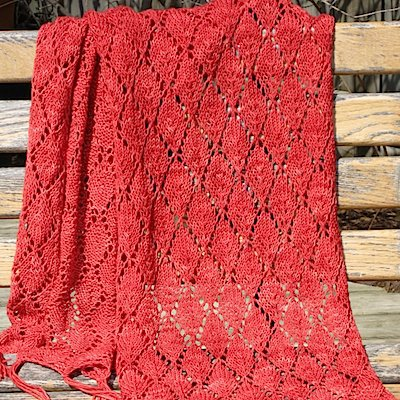 A reddish-orange wrap with a lace pattern