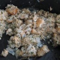 Homemade stuffing in a bowl
