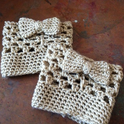 Crochet Bow Tie Boot Cuffs