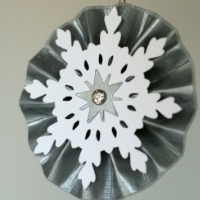 duct tape crafts -- A rosette made from regular duct tape, paper snowflake