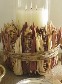 Thanksgiving Centerpiece: Indian Corn Candle Centerpiece from Eddie Ross