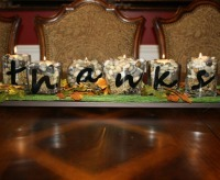 "Thanksgiving Centerpieces: ""Thanks"" Candles from Modern Day Moms"