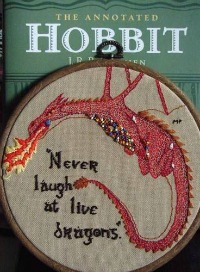 "Homemade Gifts for ""The Hobbit"" Fans: Smaug Beaded Embroidery Hoop"