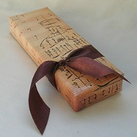 A gift wrapped in sheet music