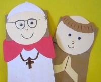 Pope Francis paper bag puppet