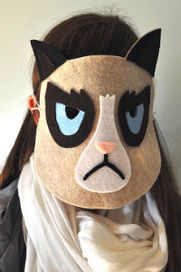 Grumpy cat mask costume