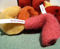 felt fortune cookies in pink, yellow, orange and red