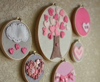 embroidery hoops filled with pink hearts and valentines art