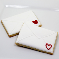 Cookies shaped like Valentine envelopes