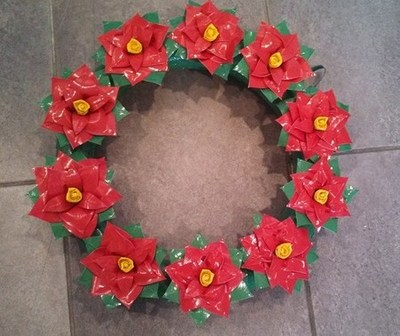 Duck Tape poinsettia wreath