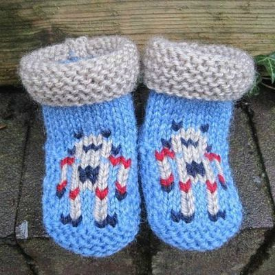 Blue booties with a robot pattern on the front and gray cuffs