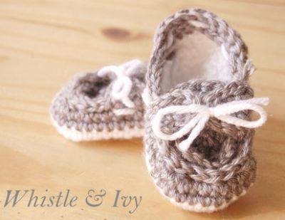 Crocheted Baby Booties, Knit Baby Booties, Baby Boat Shoes