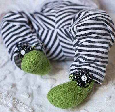 Knitted Baby Booties, Knit Baby Booties, DIY Baby Booties