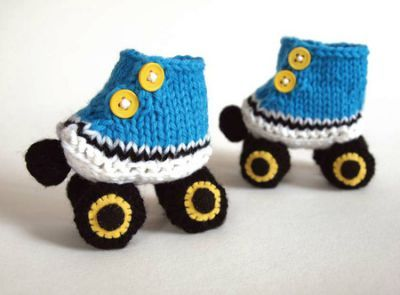 Knitted Baby Booties, Knit Baby Bootys, Rollerskate Baby Booties