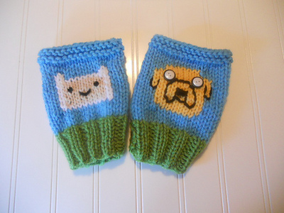 Adventure Time Knitted Gloves