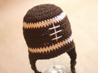 Crochet Football Hat and Other Super Bowl Ideas from CraftFoxes