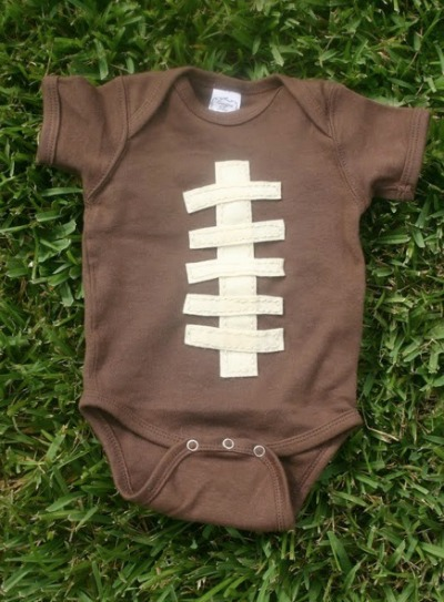 Easy Football Onesie and Other Super Bowl Ideas from CraftFoxes
