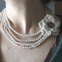 Cream Crochet Flower Necklace