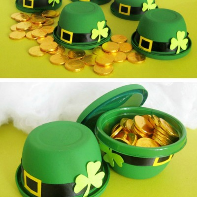 Leprechaun Hat Bowls made from Gladware Containers!