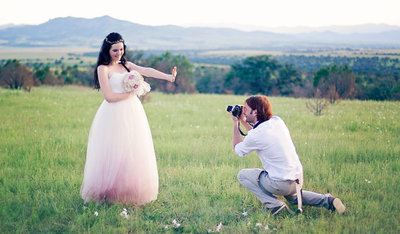 Woman in ombre tulle wedding dress