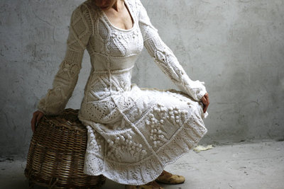 Woman in handknit wedding dress