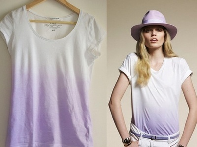 Woman wearing violet ombre shirt
