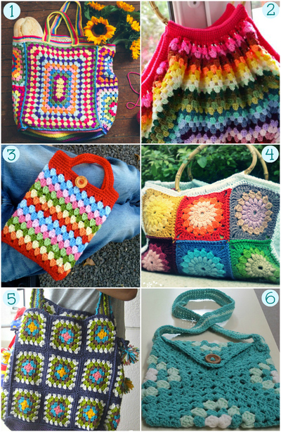 Granny Square Purse Pattern Free : Granny Crochet Purses