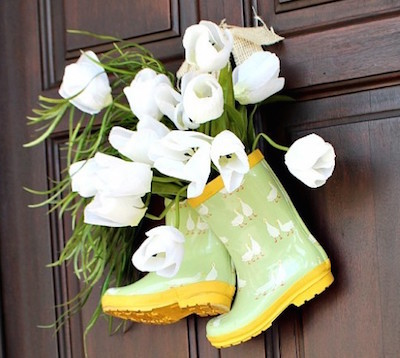 Rain Boot Spring Door Decor