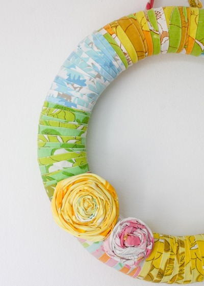 Upcycled Vintage Sheet Spring Time Wreath