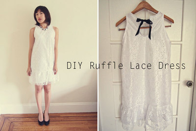 Woman wears lace and ribbon shift dress