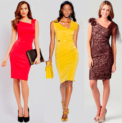 Women wear asymmetric neckline shift dress