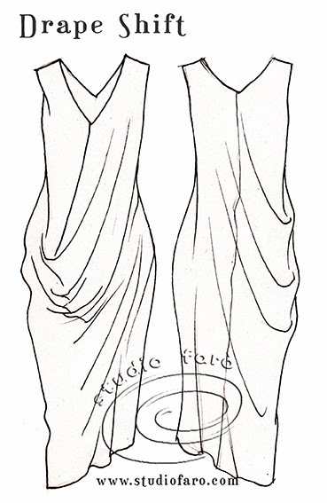 Illustration of drape shift dress